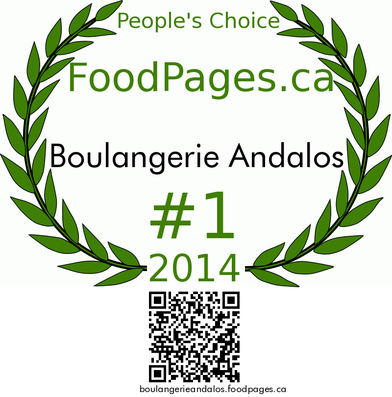 Boulangerie Andalos FoodPages.ca 2014 Award Winner
