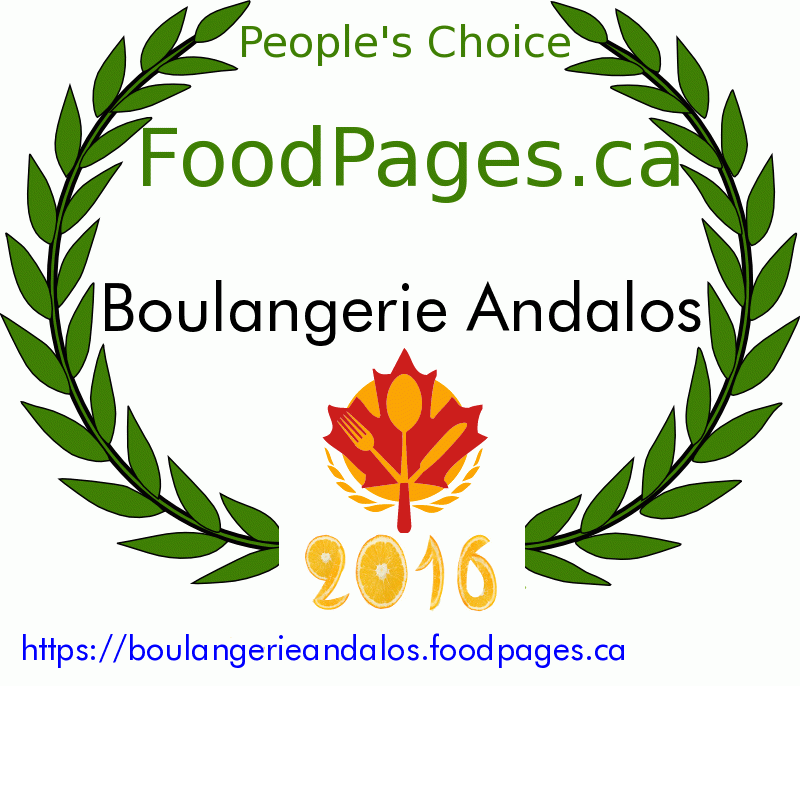 Boulangerie Andalos FoodPages.ca 2016 Award Winner